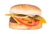 Cheeseburger on white background — Stock Photo