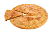 A pie with a golden egg washed crust — Stock Photo