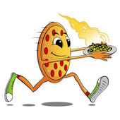 Running pizza — Stok Vektör