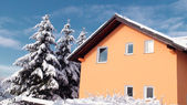 Family house at winter seson — Stock Photo