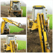 Excavator on construction site collage — Stock Photo #26955329