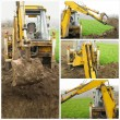 Excavator on construction site collage — Stock Photo