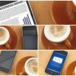 Morning coup of coffee and smartphones, collage — Stock Photo