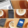 Stock Photo: Morning coup of coffee and smartphones, collage