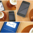 Morning coup of coffee and smartphones, collage — Stock Photo #26955639
