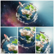 Planet Earth illustration collage — Stock Photo #26955833