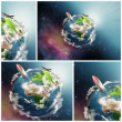 Stockfoto: Planet Earth illustration collage