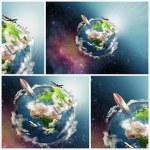 planeta ziemia ilustracja kolaż — Zdjęcie stockowe