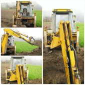 Excavator on construction site collage — Foto Stock