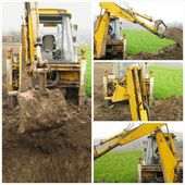 Graafmachine op bouw website collage — Stockfoto