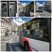 Modern bus in the city at sunny day — Stock Photo