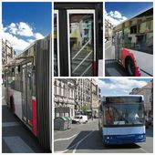 Modern bus in the city at sunny day — Foto Stock