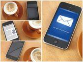 Colpo di mattina di caffè e smartphone, collage — Foto Stock