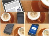 Morning coup of coffee and smartphones, collage — Foto Stock