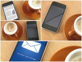 Morning coup of coffee and smartphones, collage — Foto de Stock