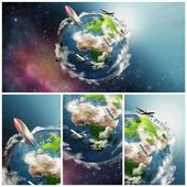 Planeet aarde illustratie collage — Stockfoto