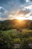 Beautiful magic sunset scene at countryside — Stock Photo