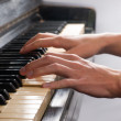 Pianist Playing Old Piano — Stock Photo