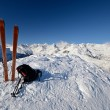 On the mountain peak by ski touring - Stock Photo