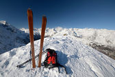 On the mountain peak by ski touring — Stock Photo
