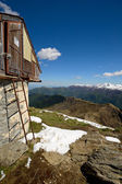 Alpine hut with view — Stock Photo