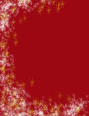 Red Christmas background with abstract red and gold snowflakes — Stock Photo