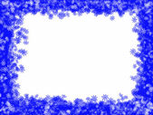 White Christmas background with blue frame and abstract snowflakes — Stock Photo