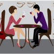Stock Vector: Women and men in coffee