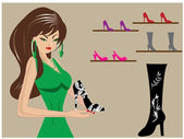 Beautiful woman in shoe shop — Stock Vector