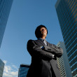 Japanese businessman outside office building - Stock Photo