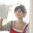 Royalty-Free Stock Photo: Japanese woman washing windows