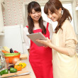 Royalty-Free Stock Photo: Japanese girls cooking in the kitchen
