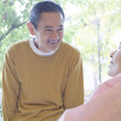 Japanese inpatient with hospital visitor — Stock Photo