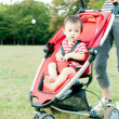 Woman pushing her baby in pushchair in a park - Stock Photo