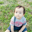 Baby boy sitting on grass - Stock Photo