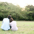 Rear view of a young couple sitting together in a park - Stock Photo