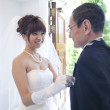 Bride putting handkerchief in her father's pocket - Foto Stock