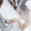 Groom putting ring on bride's finger - Foto Stock