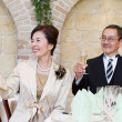 Senior couple at wedding reception - 