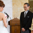 Bride making a speech - Stockfoto