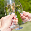 Royalty-Free Stock Photo: Wedding guest toasting with champagne at wedding reception