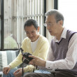 Two senior men looking at a SLR camera - Stock Photo