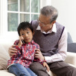 Boy with his grandfather using a mobile phone - Foto Stock