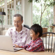 Boy using laptop with his grandfather - 图库照片