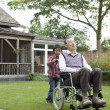 Boy pushing his grandfather in wheelchair - Stock Photo