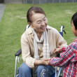 Senior woman in wheelchair with her grandson - Stock Photo