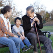 Boy with his grandparents sitting on a bench in a park - Stock Photo