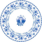 çiçek ile dekoratif beyaz ve mavi plaka — Stok Vektör