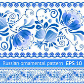 Russian national blue floral pattern — Stockvector