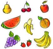 Collection de fruits colorés — Vecteur